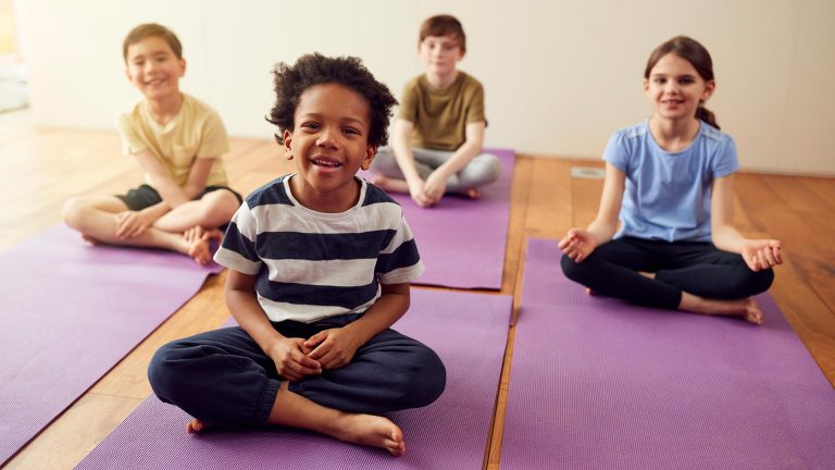 Group practicing mindfulness activities for kids